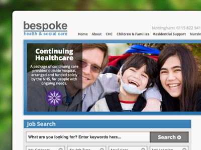 Bespoke Health & Social Care Website website wordpress health healthcare blue screen photo photographic background form search job jobs