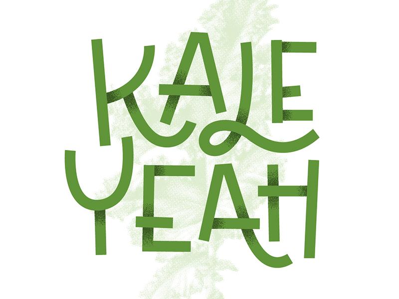 Kale Yeah type shadows green lettering puns typography kale