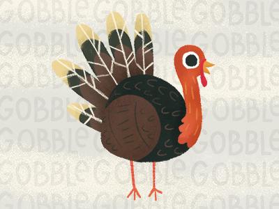 Gobble Gobble november october holiday brush texture illustration retro gobble thanksgiving turkey