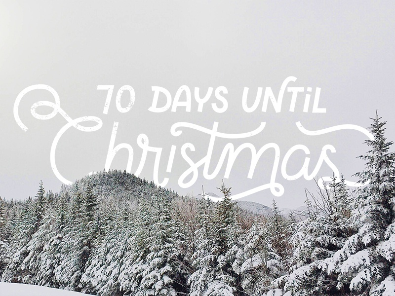 Christmas pine trees landscape typography hand lettering snow winter countdown coming soon christmas