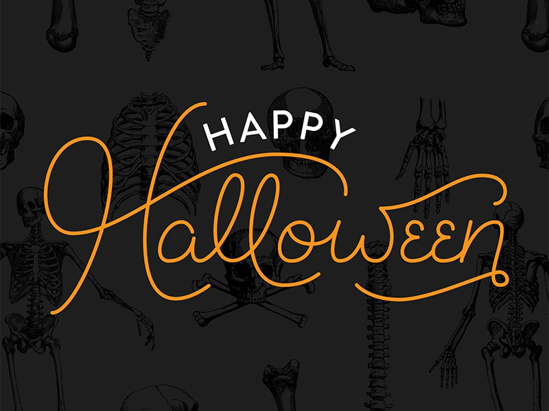 Happy Halloween lettering typography black orange skeleton bones skulls spooky trick or treat halloween monoline