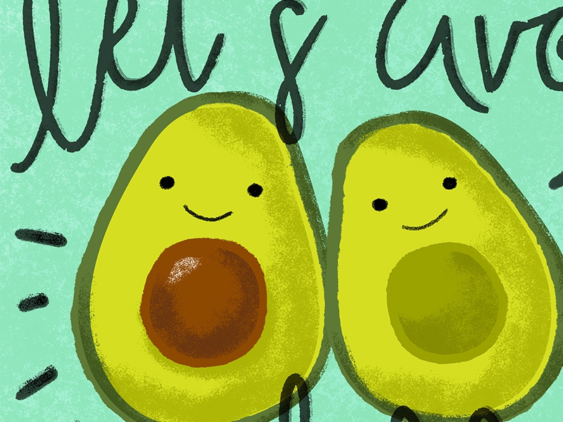 Let's Avo-Cuddle cute fruit vegetable green doodle texture vector hand lettering typography lettering avocado
