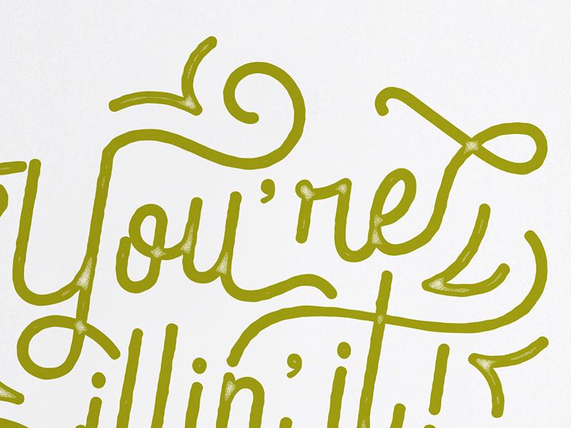 Flourish stamp texture snot green type typography lettering flourish ill