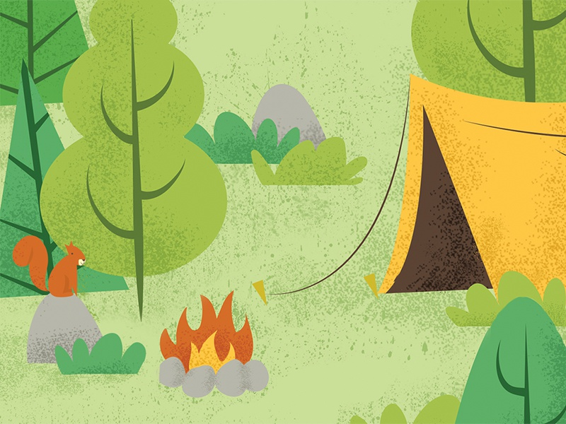 Camp Vibes illustration vector texture tree forest campfire fire summer camp tent tenting camping