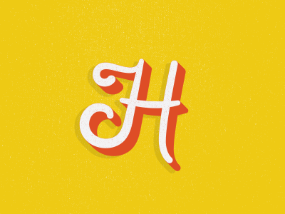 H yellow script h hand letter lettering
