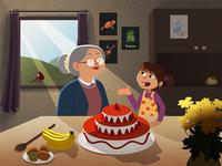 Illustration Mamie enfant