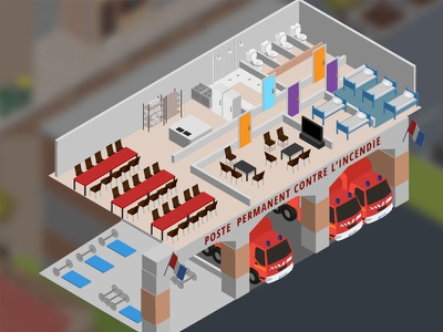 isometric fire station fire station vector isometric firefighter