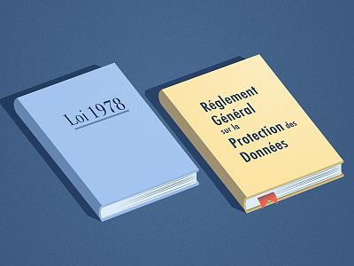 Illustration Reglement GDPR law personnal data isometric book rgpd gdpr