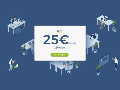 Tarifs Axeptio developper work illustration isometric pricing tarifs