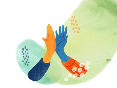 High Five - axeptio high five watercolor check hands