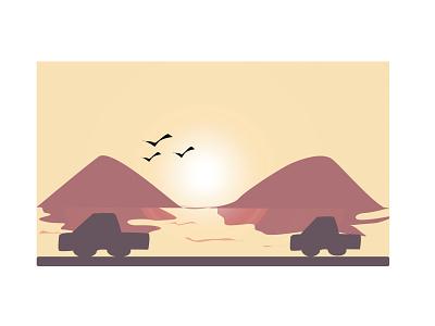 Sunset graphic design art vector illustrator illustration icon flat design