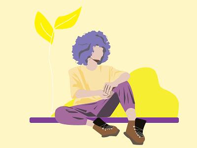 Boy Sitting art illustrator icon design illustration ill graphic design