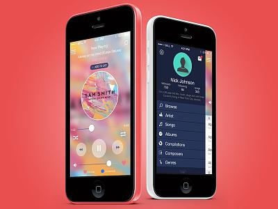 Music Streaming App Concept red stream media sound music ios iphone5c iphone concept app ui ux