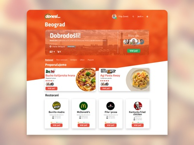Donesi.com Food Delivery UI/UX redesign concept. design web ux ui user experience user interface uiux