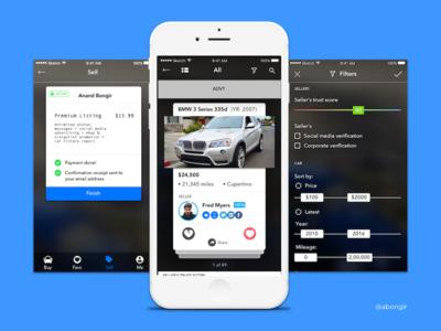 Used car marketplace app tinder used car mobile app user interface design ui