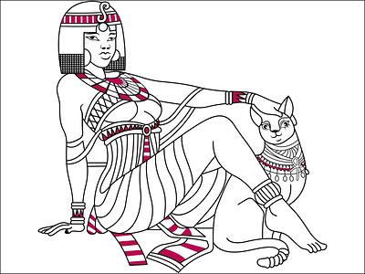 egyptian Women Illustration line drawing vectorart vector vector illustration cartoon illustration illustraion redraw logo to vector line art logo line art illustration