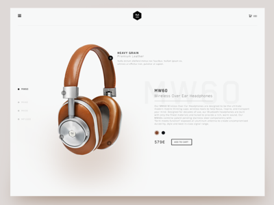 Master & dynamic (Concept) valentin salmon headphone product landing cover desktop page homepage website shop store interface