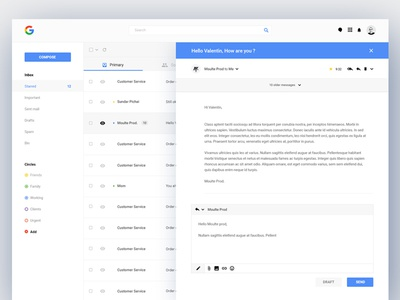 Gmail Redesign website material design google inbox mail ux ui interface redesign gmail