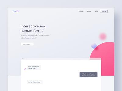 Oscar :  Artificial Intelligence valentin salmon ai landing branding bot app ui ux interactive artificial intelligence chatbot interface