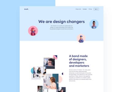 Evolt Design Suite - About page évolt evolt about homepage interface valentin salmon product octane 3d character modeling 3d character landing page landing website