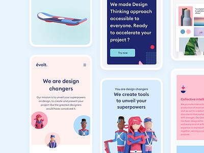 Evolt Design Suite: Responsive Website valentin salmon evolt 3d character modeling product landing webapp responsive design 3d character storyboard persona