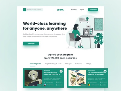 E-Learning Website Design 2021 trend home page creative ui design clean online course online class web design mobile app course app course landing page course website learning platform education landing page website e-learning website online education elearning online learning