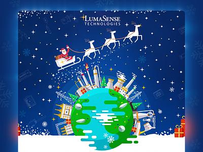 Industrial Christmas III petrochemical oil industrial flat xmas steel holiday new year greeting christmas energy