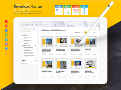 Download Center redesign selector product industrial corporate interface website web design