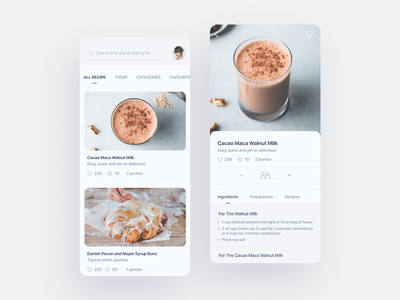 Recipe App Concept design minimalistic hello ui cooking app recipes food minimal cook food app mobile ui app