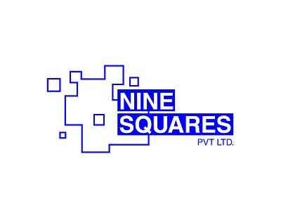 9 Squares Logo proposal branding clean minimal squares nine blue logo