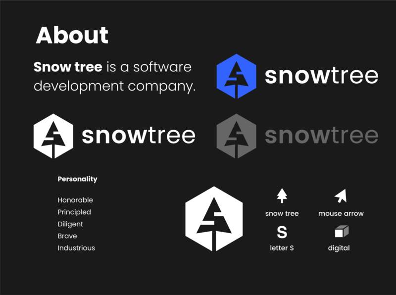 Snow Tree brand id software development development s letter technology software coding logo design brand tree snow