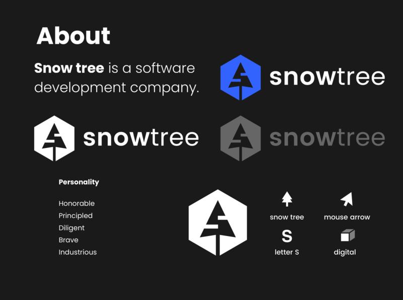 Snow Tree brand id software development development s letter technology software coding logo design brand tree snow