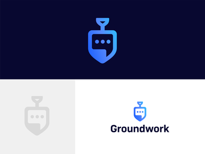 Groundwork developer themes chatbot app app chatbot work ground chat shovel double meaning concept simple logo