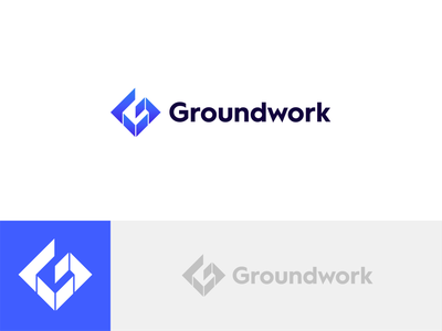 Groundwork concept 2 chat blue wip simple concept logo double meaning hole themes developer app chatbot work infrastructure g letter ground