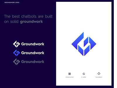 Groundwork Solutions mark solid foundation technology infrastructure letter lettermark g logo g letter developer app chatbot ground groundwork