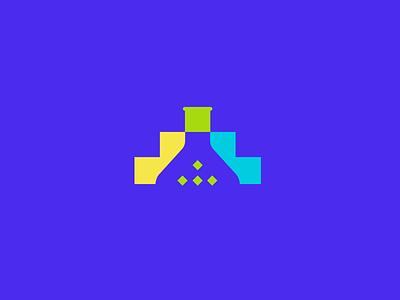 improvement labs negative space mark abstract square squares bit flask logo evolution steps digital labs improvement improve