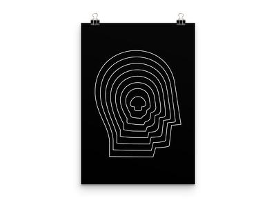 head + mushroom minnimalist logo mind mushroom face head abstract simple concept poster double meaning