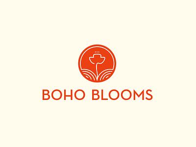 boho blooms floral blooms bloom line logo mark logo flowershop logo poppies field poppy flower logo flower flowershop initial concept concept