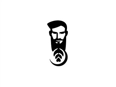 Barista b&w foam cappuccino specialty beard face man coffee logo coffee shop coffee cart coffee barista