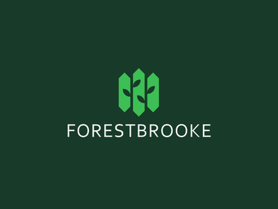 Forestbrooke mark simple double meaning building estate modern leaves logo negative space house real estate trees home forest bold
