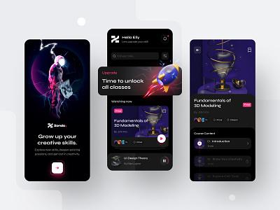 Zondo. — Education Platform Mobile App minimal space e-learning class courses dark ui students school graphic design 3d study education learning app ux ui