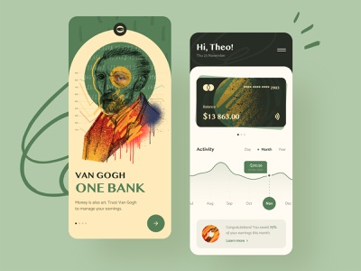 Van Gogh. One Bank — Online Banking payments finances graphics money creative art fintech finance mobile banking ux typography ui design concept branding clean logo illustration app