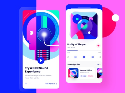 Experimental Music App mobile ui player colors shape abstract minimal song music sound vector illustration art ux mobile design concept clean ui app