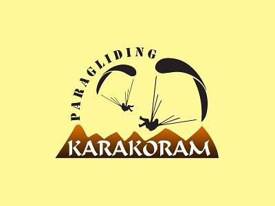 Karakoram Paragliding   Logo branding blackandwhite logo adobe illustrator vector minimal illustration design