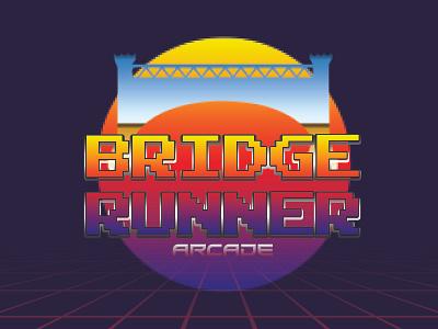 BRIDGE RUNNER Arcade Game logo adobe photoshop adobe illustrator retro arcade logo design