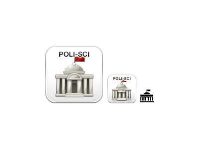 Political Science boundless political science poli-sci icon government building flag red white grey