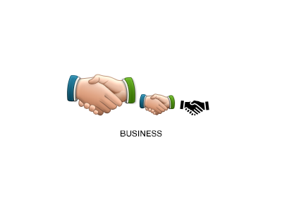 Business boundless business icon handshake green blue hands