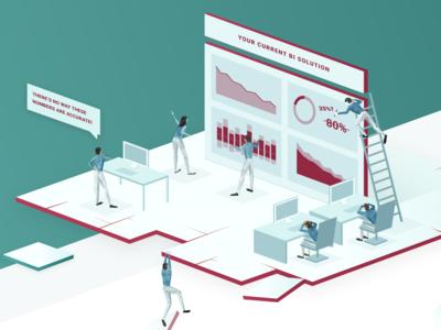 Hero Illustration In Progress people illustration isometric business intelligence metrics