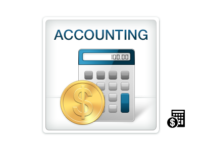 Accounting boundless accounting icon calculator money coin gold blue gray