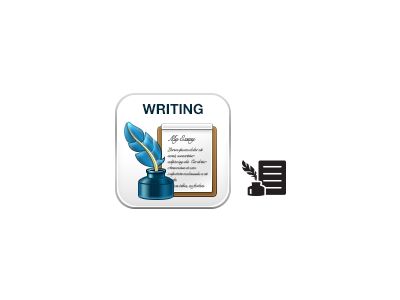 Writing icon boundless writing icon feather ink paper white blue brown